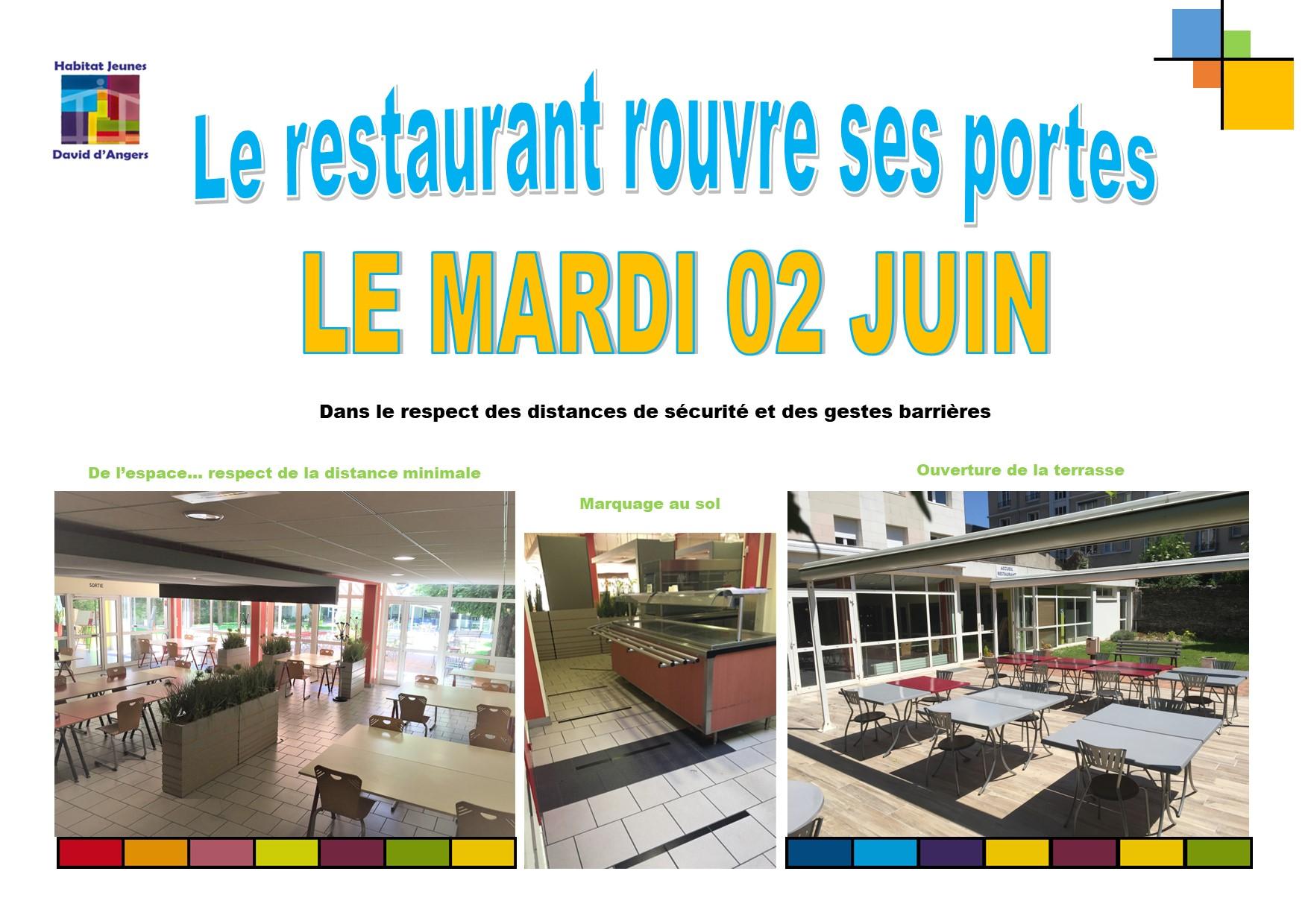 Le restaurant rouvre ses portes le 02 juin